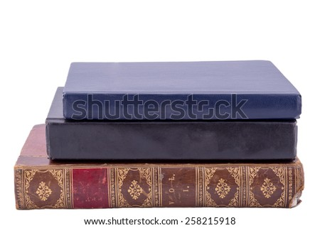 three old style books isolated on white - stock photo