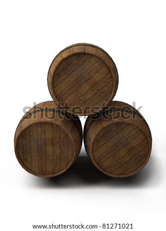 three old wooden barrels, front view - 3d illustration isolated on white - stock photo