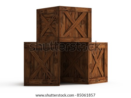 three old wooden boxes - 3d illustration isolated on white