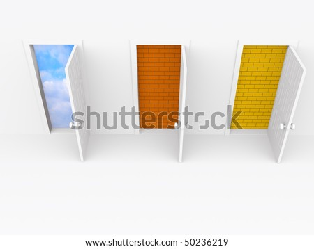 three open doors. 3d on white - stock photo