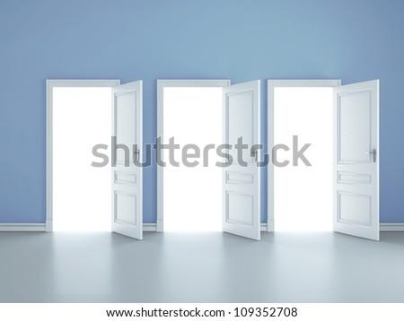three open doors in blue room - stock photo