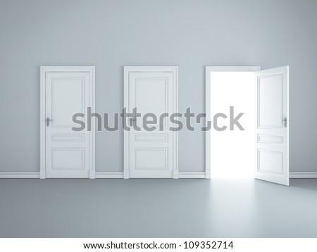 three open doors in room - stock photo