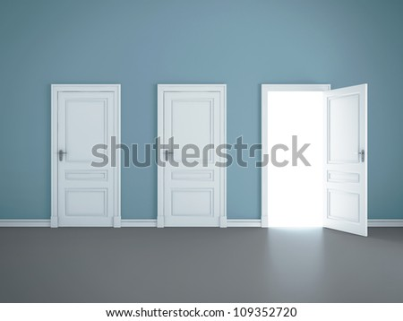 three open doors in room