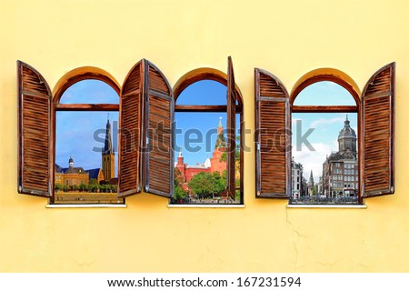 Three open windows with shutters and a view of three European cities - Dusseldorf (Germany), Moscow (Russia) and Amsterdam (Netherlands) - stock photo