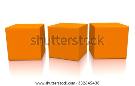 Three orange aligned 3d blank concept boxes with shadows isolated on white background. Rendered illustration. - stock photo