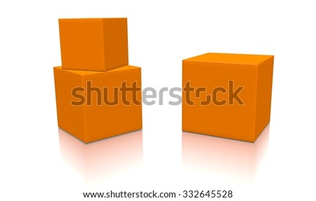 Three orange 3d blank concept boxes with shadows isolated on white background. Rendered illustration. - stock photo