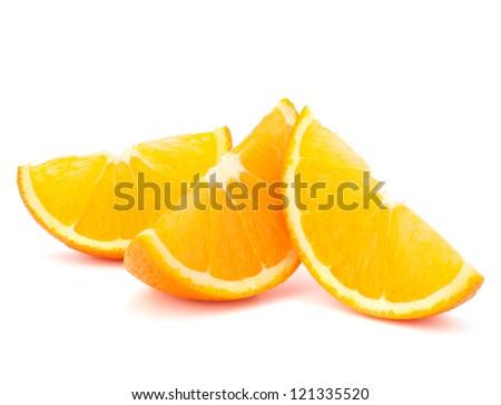 Three orange fruit segments or cantles isolated on white background cutout - stock photo