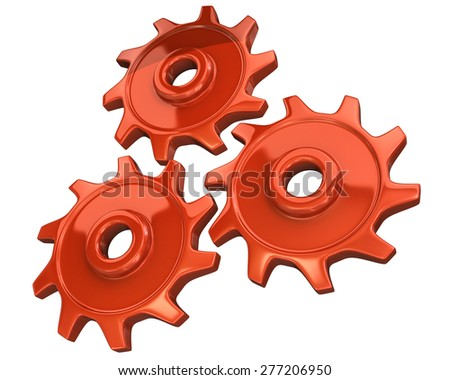 Three orange gears isolated on white background  - stock photo