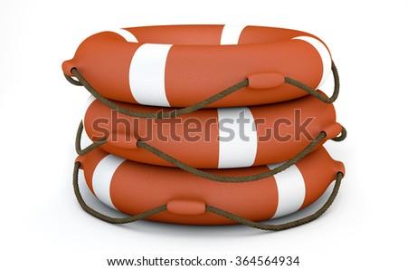 Three Orange Lifebuoy on white background  - stock photo
