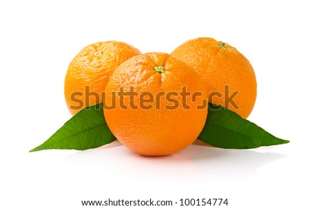 Three Oranges with Leaves Isolated on White Background - stock photo