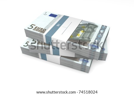 three packet of 5 Euro notes with bank wrapper - 500 Euros each - stock photo