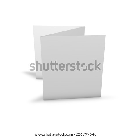 Three pages leaflet illustration with blank pages and shadow. Template  for marketing purposes. - stock photo