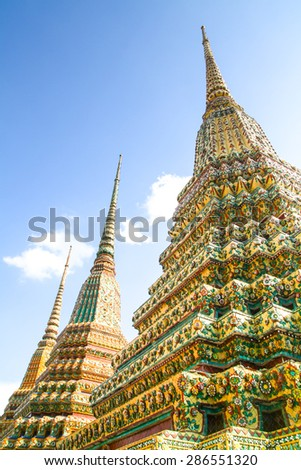 Three Pagodas in Wat Po - stock photo