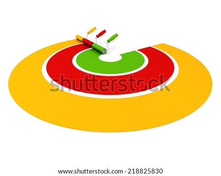 three paint rollers draw colorful palette lines. 3d render illustration - stock photo