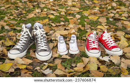 three pair of shoes in father big, mother medium and son or daughter small kid size in grass park with Autumn leaves representing family, growth, education and togetherness concept  - stock photo