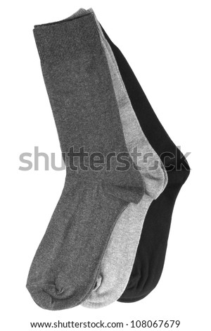 Three pair of socks isolated on a white background