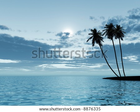 Three palm trees in a moonlight at night on a background of the cloudy sky - stock photo