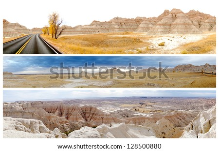Three panoramic pictures of Badlands National Park, South Dakota, United States - stock photo