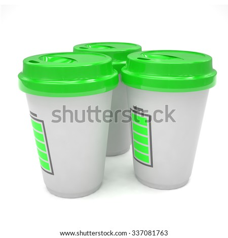 Three paper coffee cups