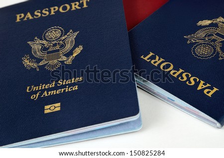 three passports - stock photo