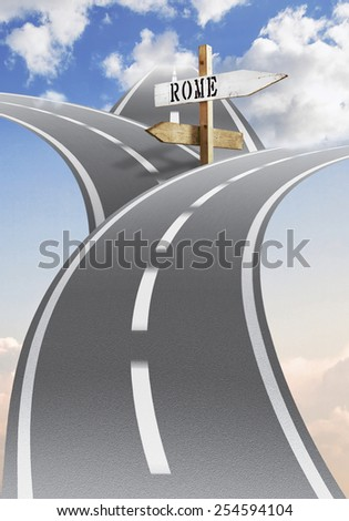 Three paved roads stretch towards the sky, right above the clouds. Each in the opposite direction. A sign indicates the one that leads to the city of Rome. Abstract illustration made to the computer. - stock photo