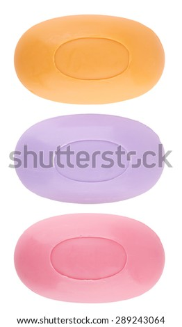 three peaces soaps isolated on a white background - stock photo