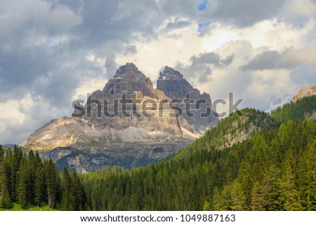 Three Peaks of Lavaredo mountain view from lake misurina, Province of Belluno, Veneto, Italy.