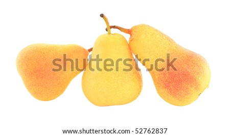 three pears on white background isolated - stock photo