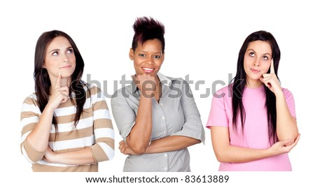 Three pensive girls isolated on white background - stock photo
