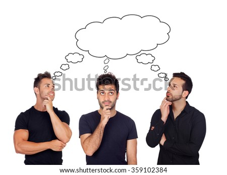 Three pensive men isolated on a white background - stock photo