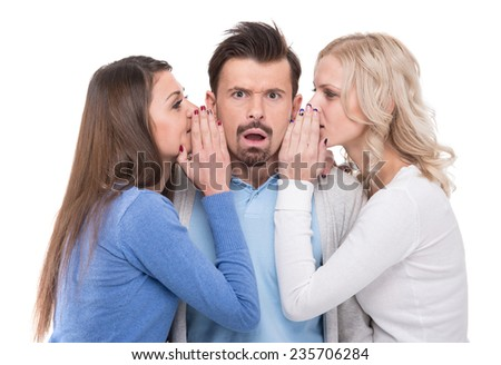 Three people are gossiping. Isolated on white background. - stock photo