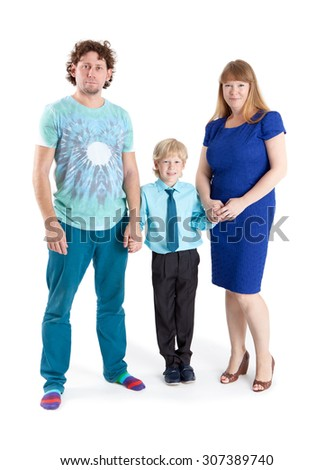 Three people family standing together and holding hands, isolated on white background - stock photo