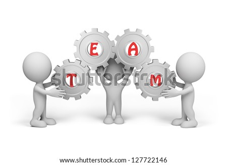 "Three people hold the gear with the word ""team"". Isolated white background."