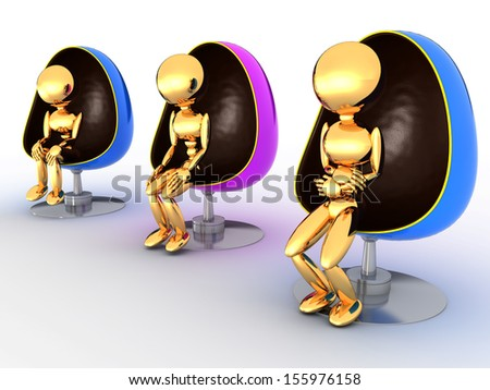 Three people sitting in chairs on a white background #2 - stock photo