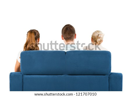 Three people sitting on a sofa back, white background - stock photo