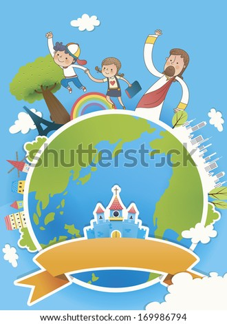 Three people standing on top of the world with a church in the center.