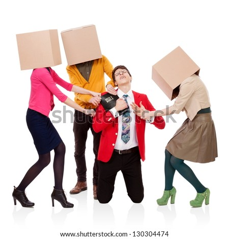 Three people with boxes in the head that pull a young man with a Bible. FRIENDS, BUSINESS and PLEASURES attack - stock photo