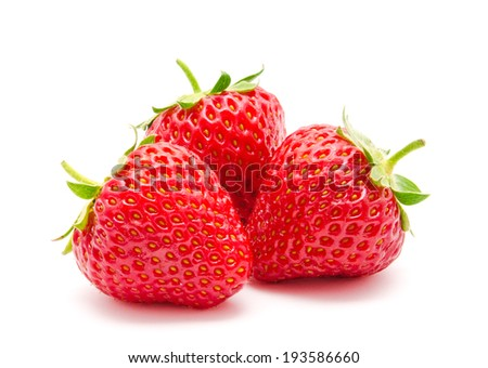 Three perfect red ripe strawberry isolated on a white