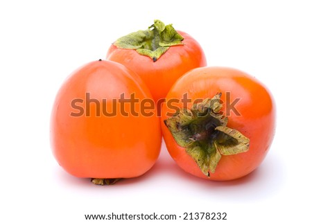 Three persimmons isolated on the white background