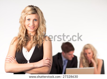 Three Person Business team at work