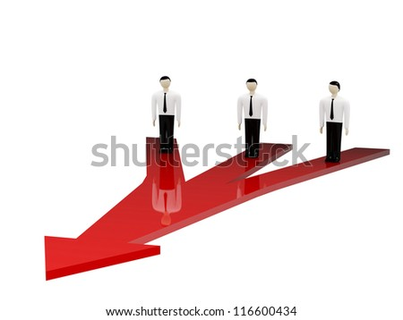 Three persons stand on a red arrow
