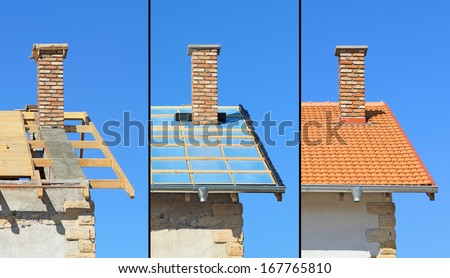 Three phases of a roof construction. Carpentry work, thermal insulation and tiling - stock photo