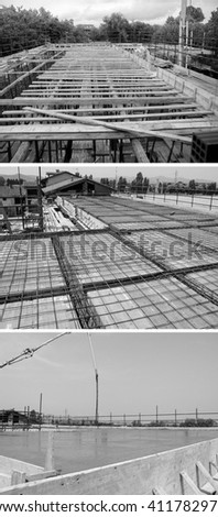 Three phases of reinforced concrete construction including (top to bottom) scaffolding, frameworks and reinforcing steel placement, casting in black and white - stock photo