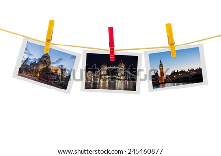 Three photos of London on clothesline isolated on white background with clipping path