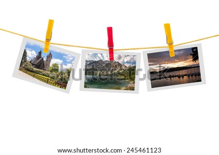 Three photos of Poland on clothesline isolated on white background with clipping path