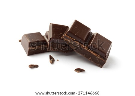 Three pieces of Chocolate isolated on white