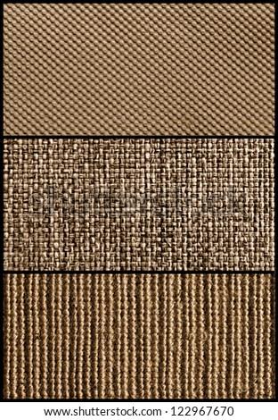 Three pieces of fabric texture - stock photo