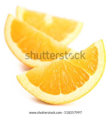 three pieces of fresh orange fruit on white background