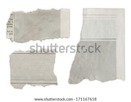 Three pieces of torn paper on plain background. Copy space - stock photo