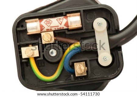 Three pin plug showing the wiring terminals - stock photo